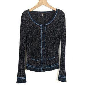Free People Ribbed Knit Cotton Angora Cardigan